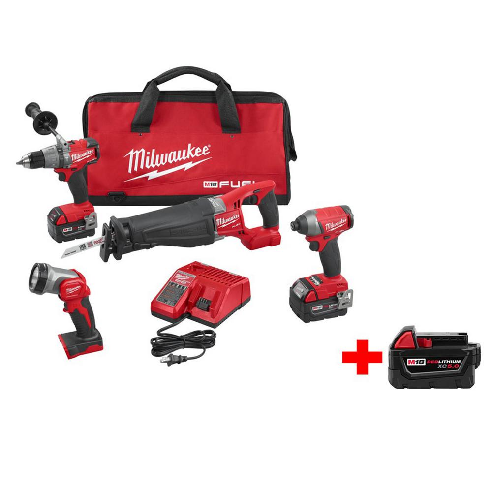 M18 FUEL 18-Volt Cordless Lithium-Ion Brushless Combo Kit (4-Tool) with Free