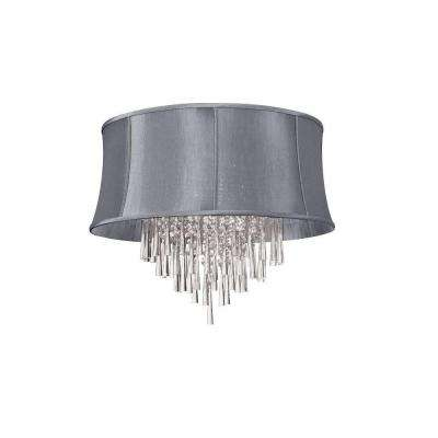 Catherine 8 Light Halogen Polished Chrome Chandelier With Steel Shades