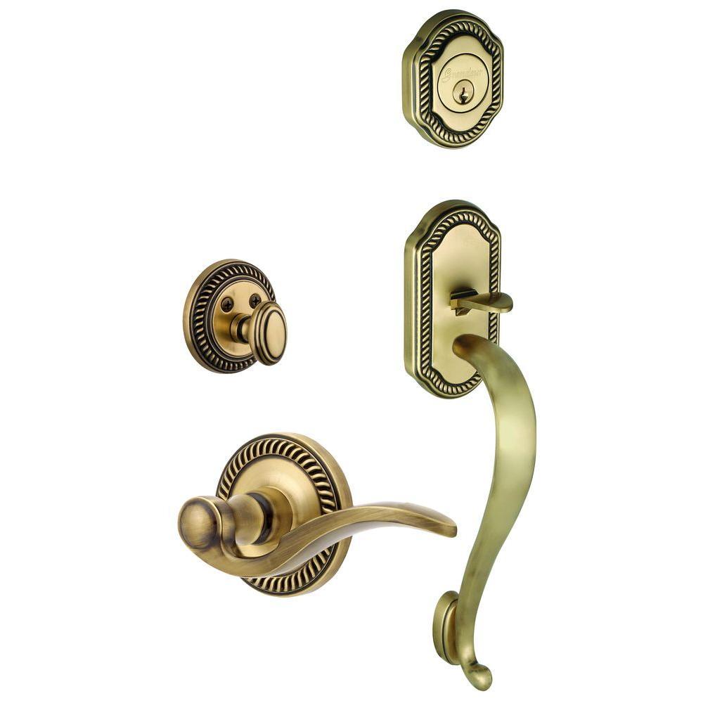 Grandeur Newport Single Cylinder Vintage Brass S-Grip Handleset with Left Handed Bellagio Lever