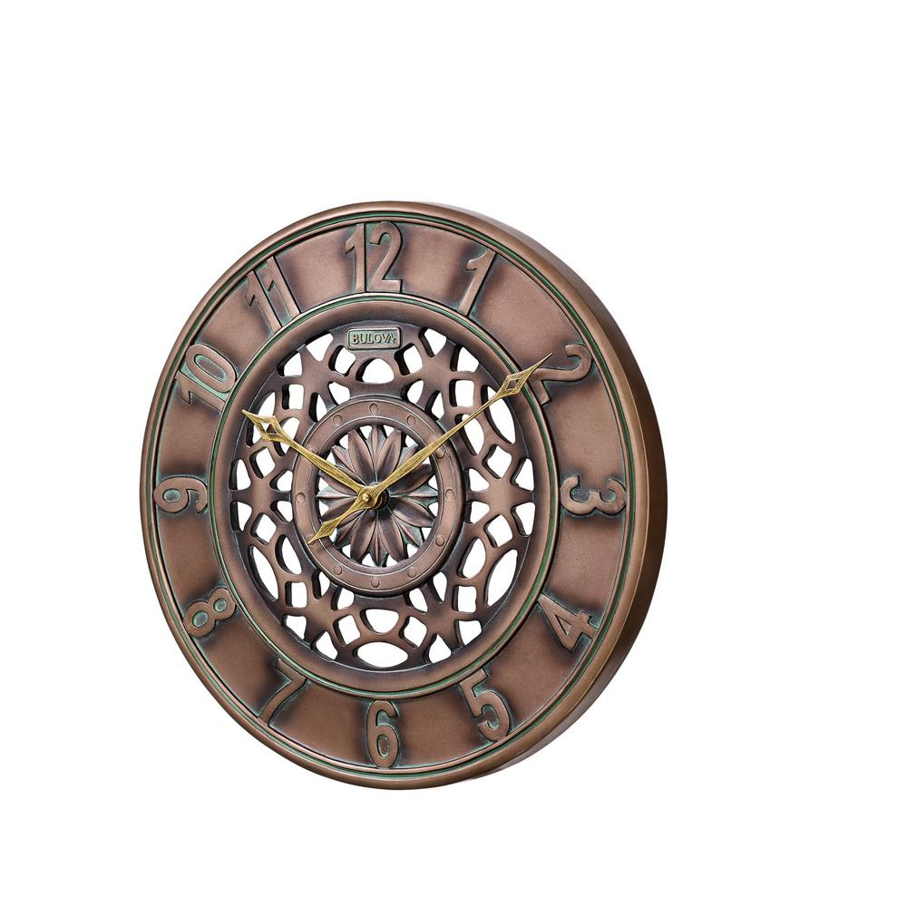 W Outdoor Wall Clock With Bronze C4853 The Home Depot
