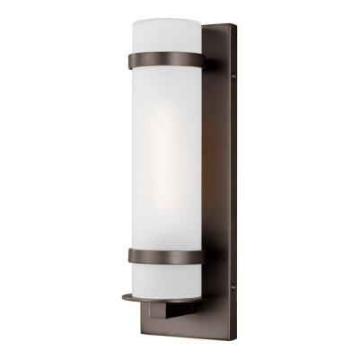 Alban Small 1-Light Antique Bronze Outdoor Wall Mount Cylinder