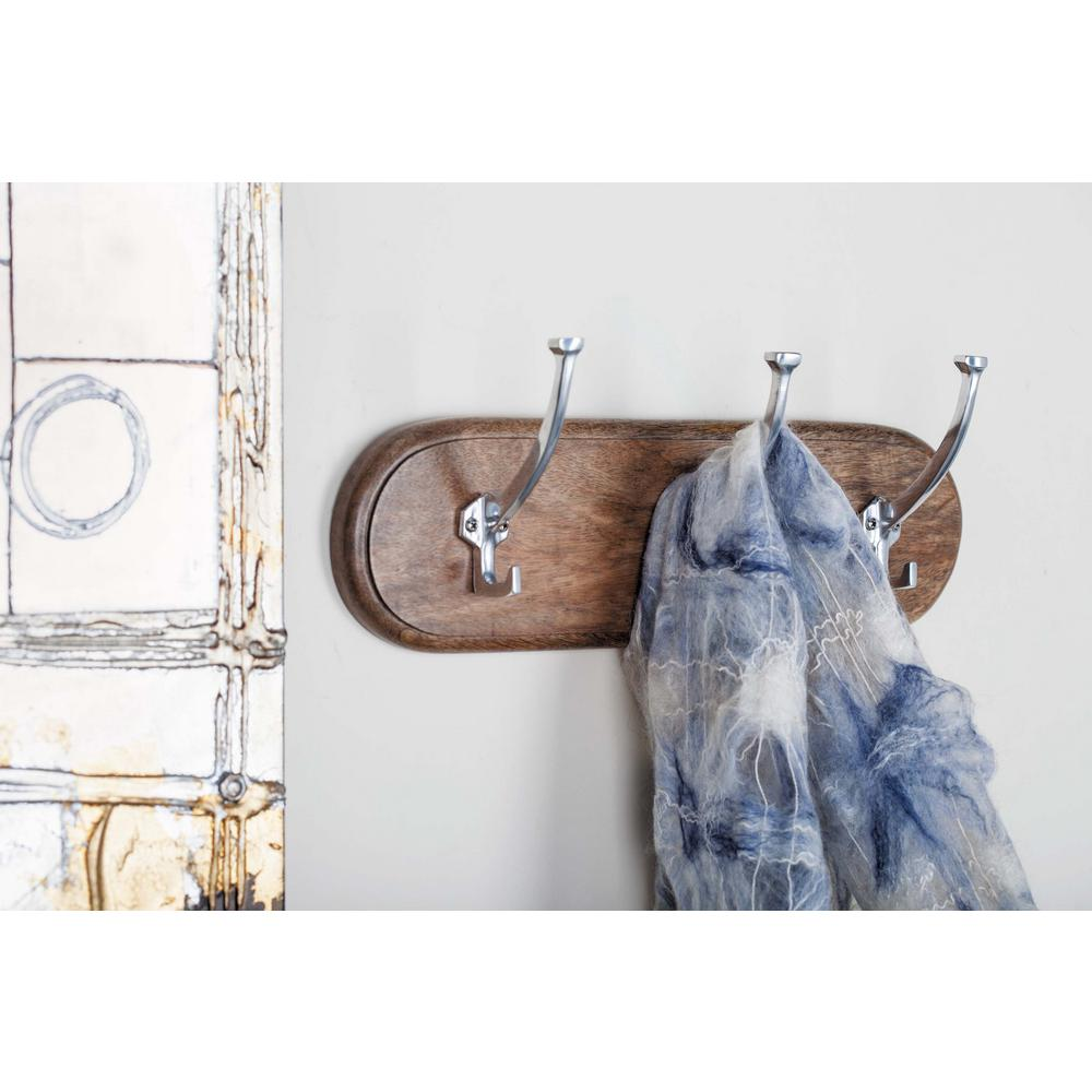 16 in. Aluminum and Wood Wall Hook Rack