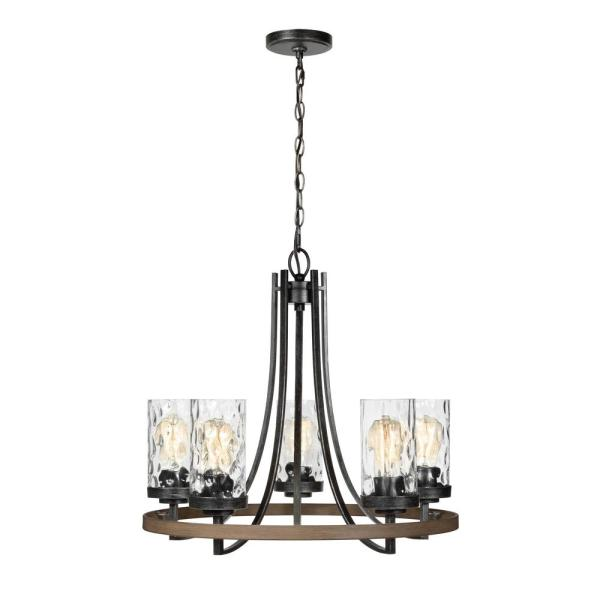 Gaston 24 in. W 5-Light Weathered Gray Rustic Wagon Wheel Chandelier with Distressed Oak Accents and Water Glass Shades
