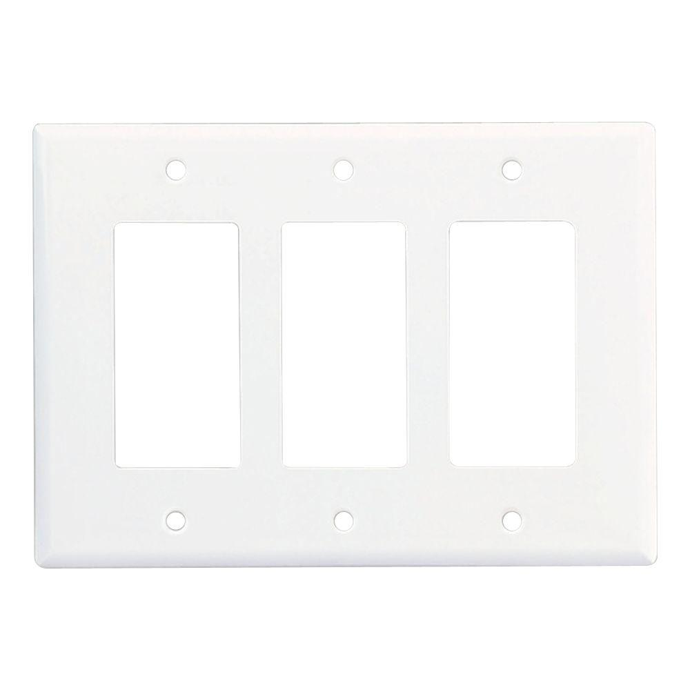 3 Gang Decorator/Rocker Polycarbonate Wall Plate - White