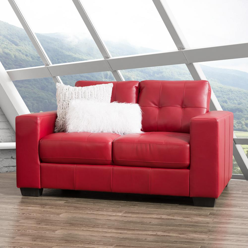 Corliving club tufted red bonded leather loveseat lzy 151 l the home depot