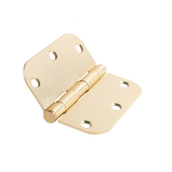 3.5 in. x 3.5 in. Satin Brass Plain Bearing Steel Hinge with 5/8 in. Radius (Set of 2)
