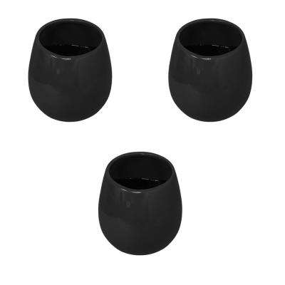 Round 3-1/2 in. x 4 in. Black Ceramic Wall Planter (3-Piece)