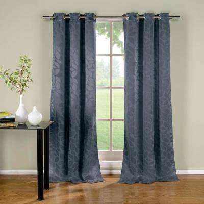Zayden 38 in. W x 96 in. L Polyester Window Panel in Blue