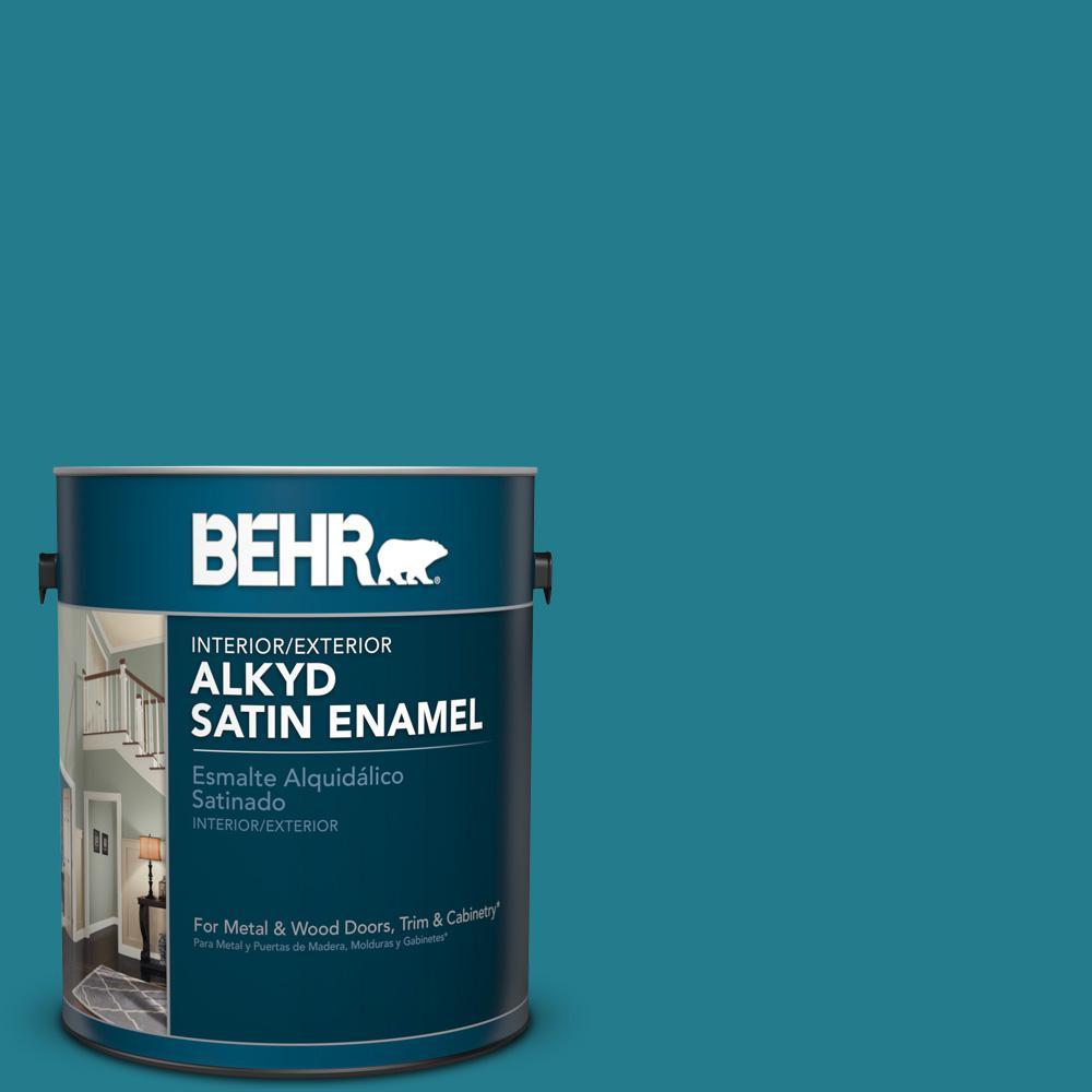 1 gal. #HDC-CL-27 Calypso Blue Satin Enamel Alkyd Interior/Exterior Paint