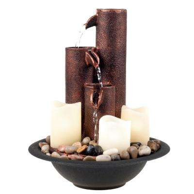 11.5 in. LED Tiered Column Tabletop Fountain