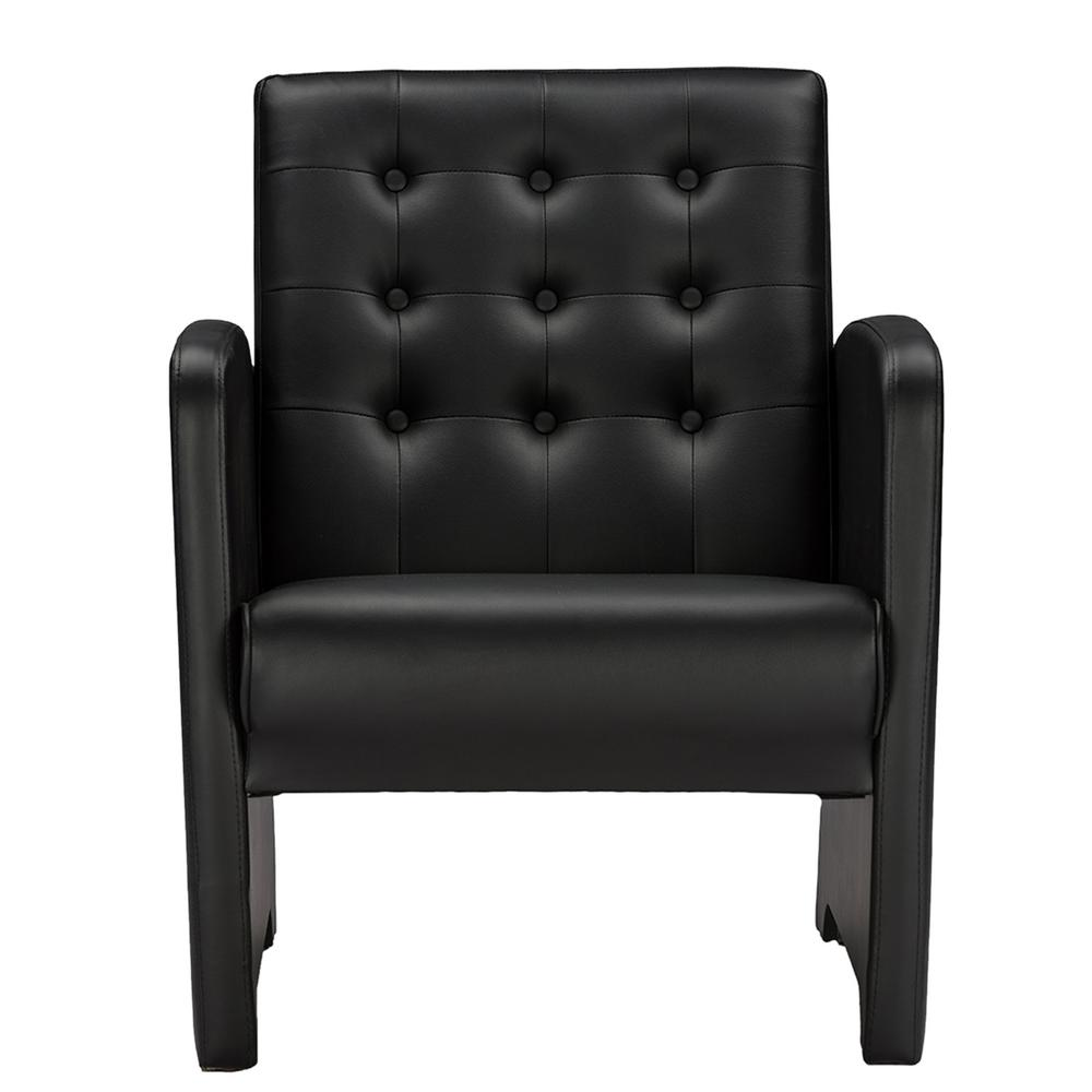 black leather club chair baxton studio jazz contemporary black faux leather 4730