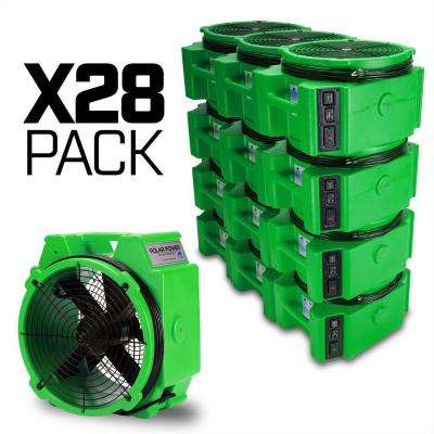 1/4 Polar Axial Blower Fan High Velocity Air Mover for Water Damage Restoration Green (28-Pack)