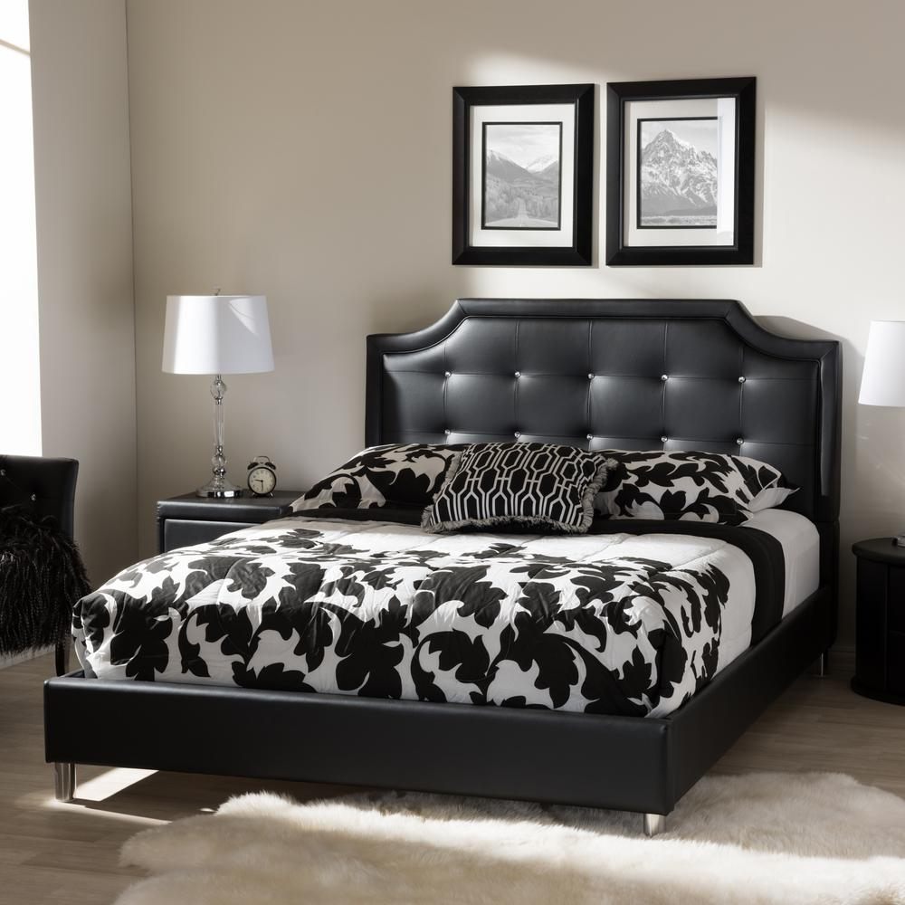 Baxton Studio Carlotta Transitional Black Faux Leather Upholstered King Size Bed