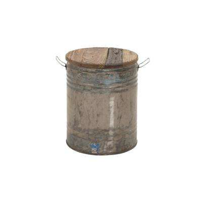 Distressed Gray Drum Ottoman with Brown Wooden Seat