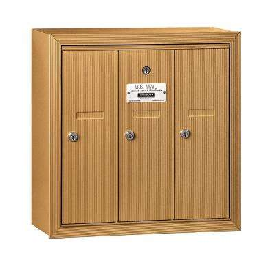 3500 Series Brass Surface-Mounted Private Vertical Mailbox with 3 Doors