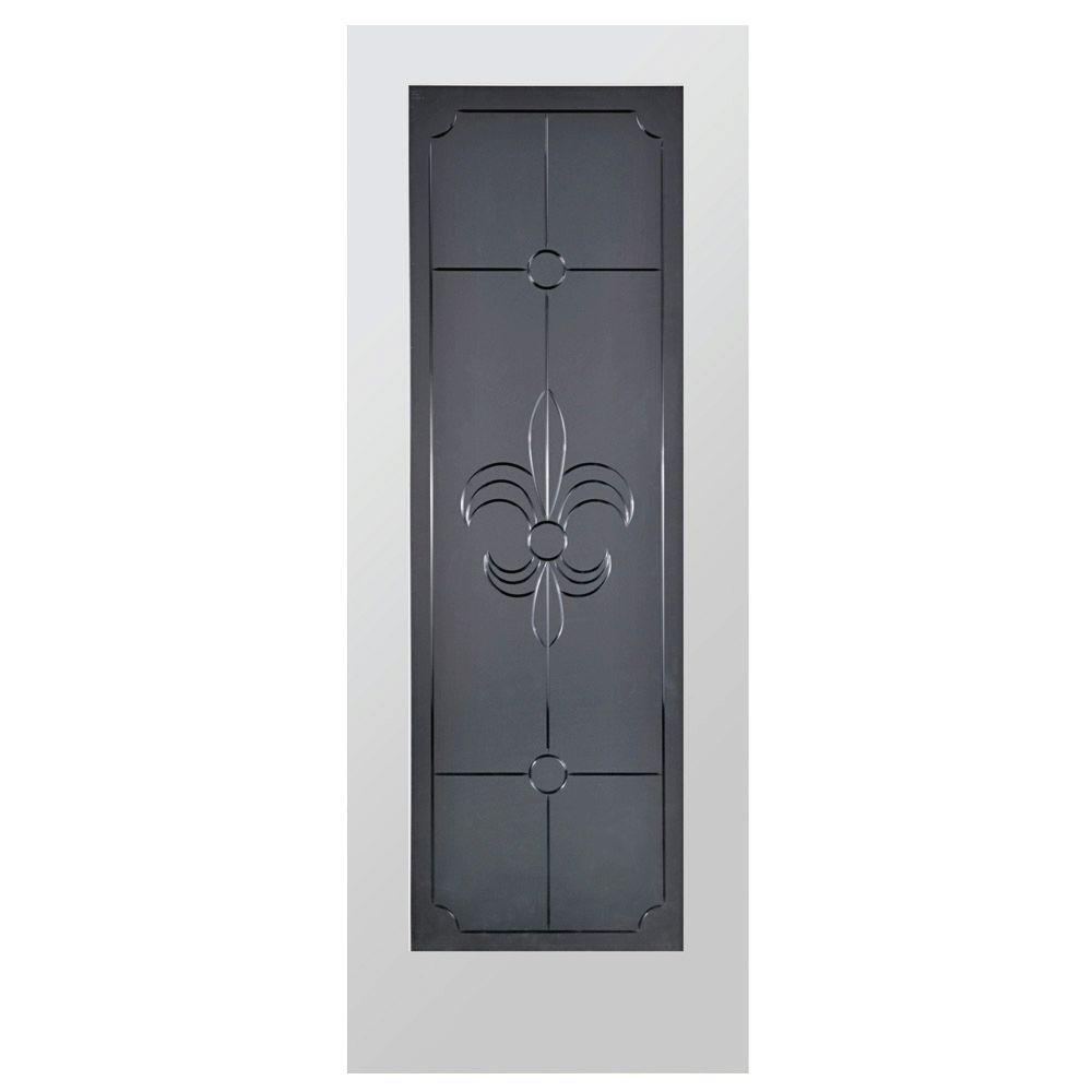 Steves & Sons Fleur-De-Lis Full Lite Solid Core Pine Obscure Glass Interior Door Slab