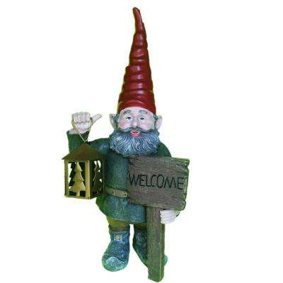 20 in. Welcome Rumple the Gnome Thumbs-Up Holding Metal Lantern Tea Light Holder Statue