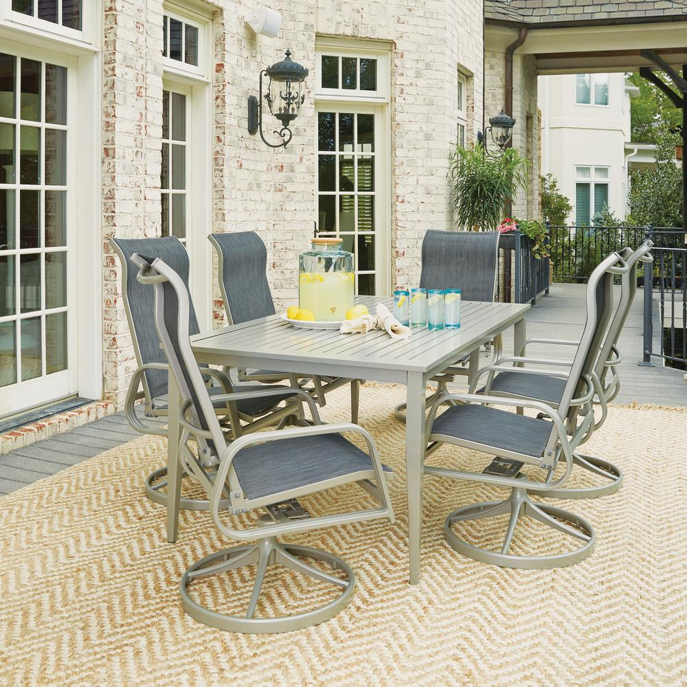 Home Styles South Beach Gray 7 Piece Aluminum Round Outdoor Dining Set