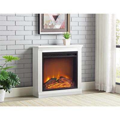 22.75 in. x 22.8127 in. x 7.3125 in. Tudor Terrace Electric Fireplace in White