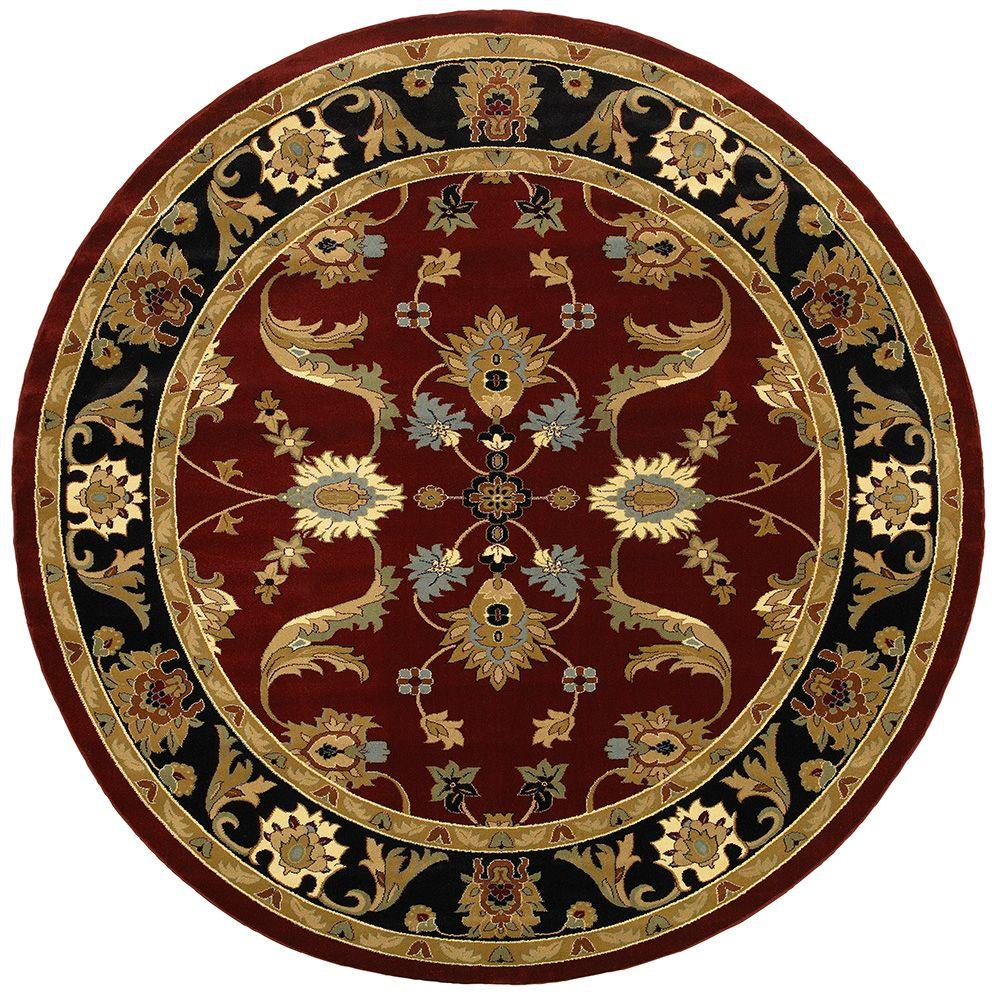 LR Resources Adana Red/Black 9 ft. 1 in. x 9 ft. 1 in. Round Plush Indoor Area Rug