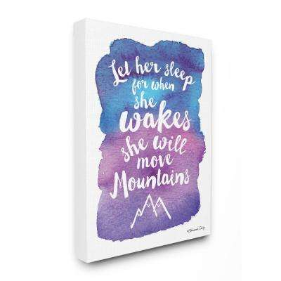 """30 in. x 40 in. """"Watercolor Let Her Sleep Blue Typography"""" by Shawanda Craig Printed Canvas Wall Art"""