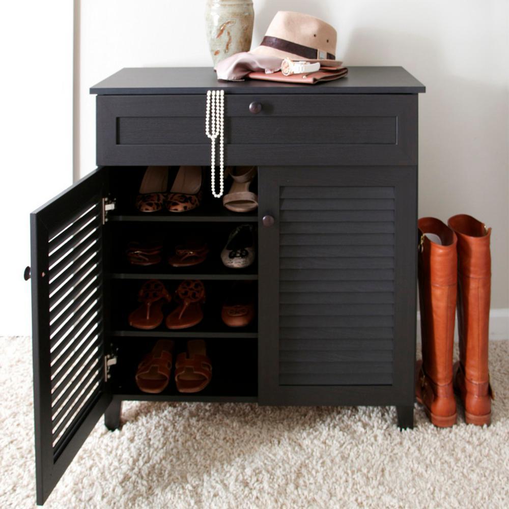 Calvin Wood Shoe Storage Cabinet in Dark Brown Espresso