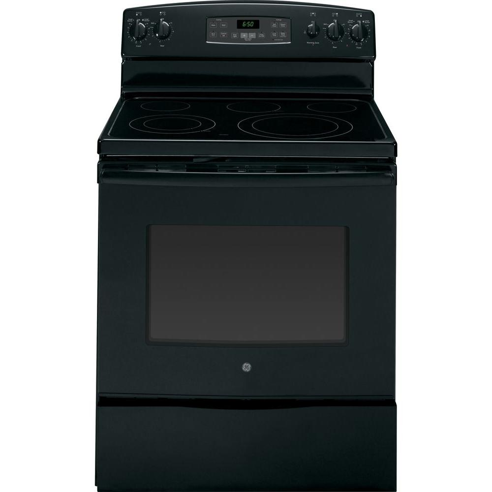GE 5.3 cu. ft. Electric Range with Self-Cleaning Oven in Black
