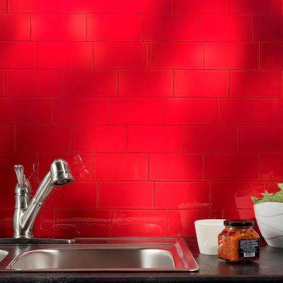 3 in. x 6 in. Glass Decorative Wall Tile in Wild Strawberry (8-Pack)