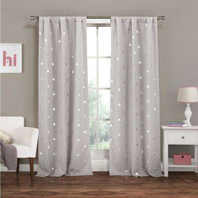 Trina 37 in. W x 84 in. L Polyester Window Panel in Light Grey