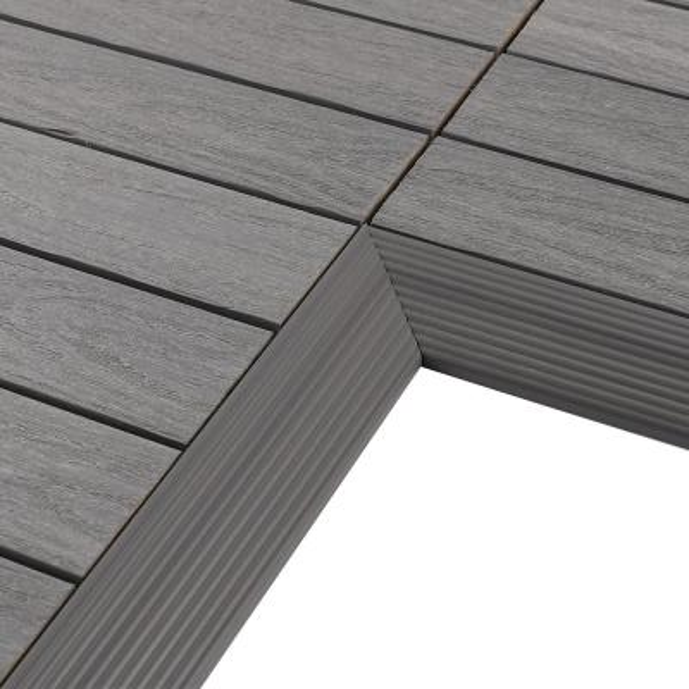 1/6 ft. x 1 ft. Quick Deck Composite Deck Tile Inside Corner Fascia in Westminster Gray (2-Pieces/Box)