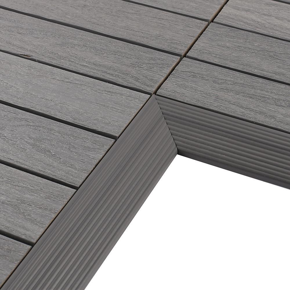 1/6 ft. x 1 ft. Quick Deck Composite Deck Tile Inside Corner in Westminster Gray (2-Pieces/Box)