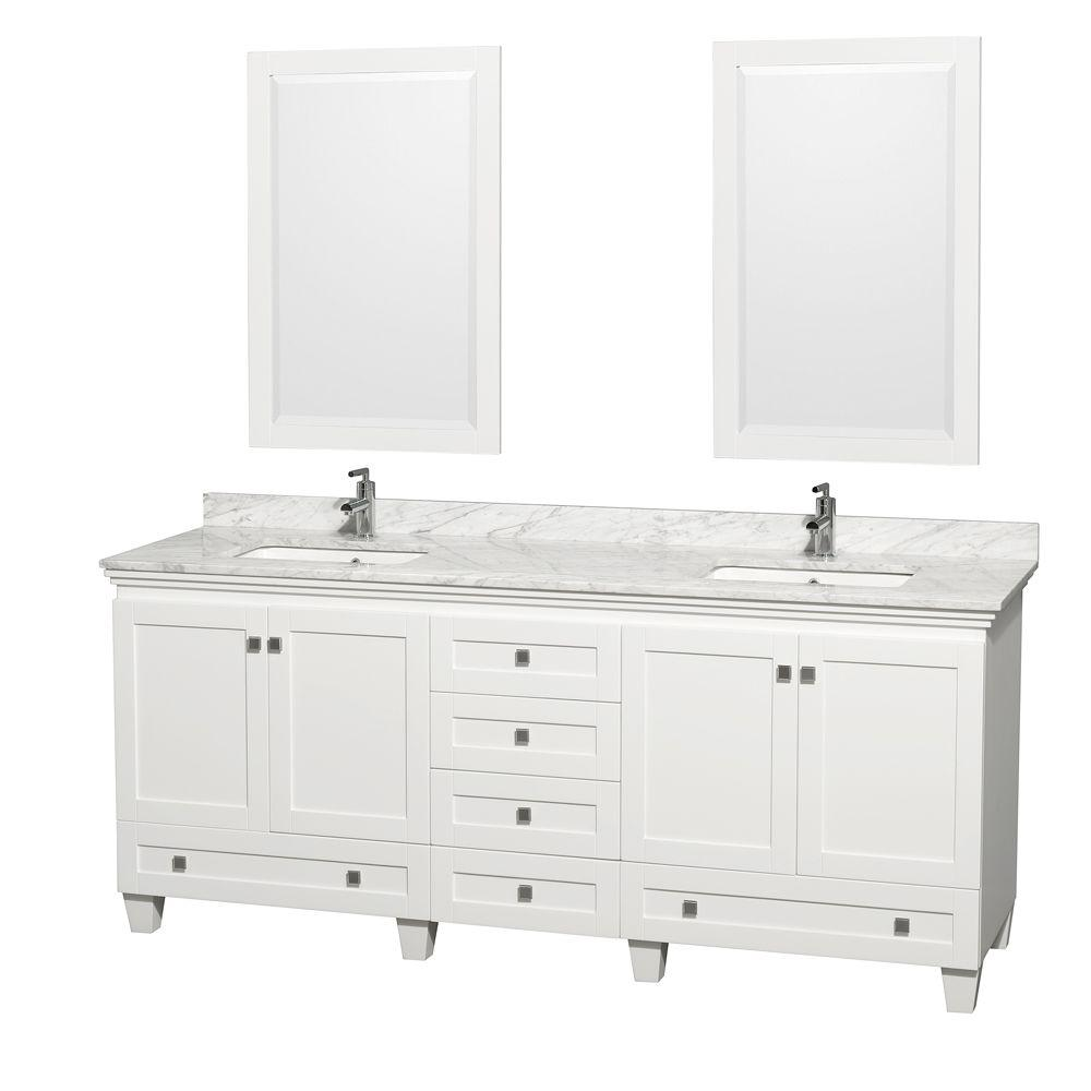 Wyndham Collection Acclaim 80 in. Double Vanity in White with Marble Vanity Top in Carrara White, Square Sink and 2 Mirrors