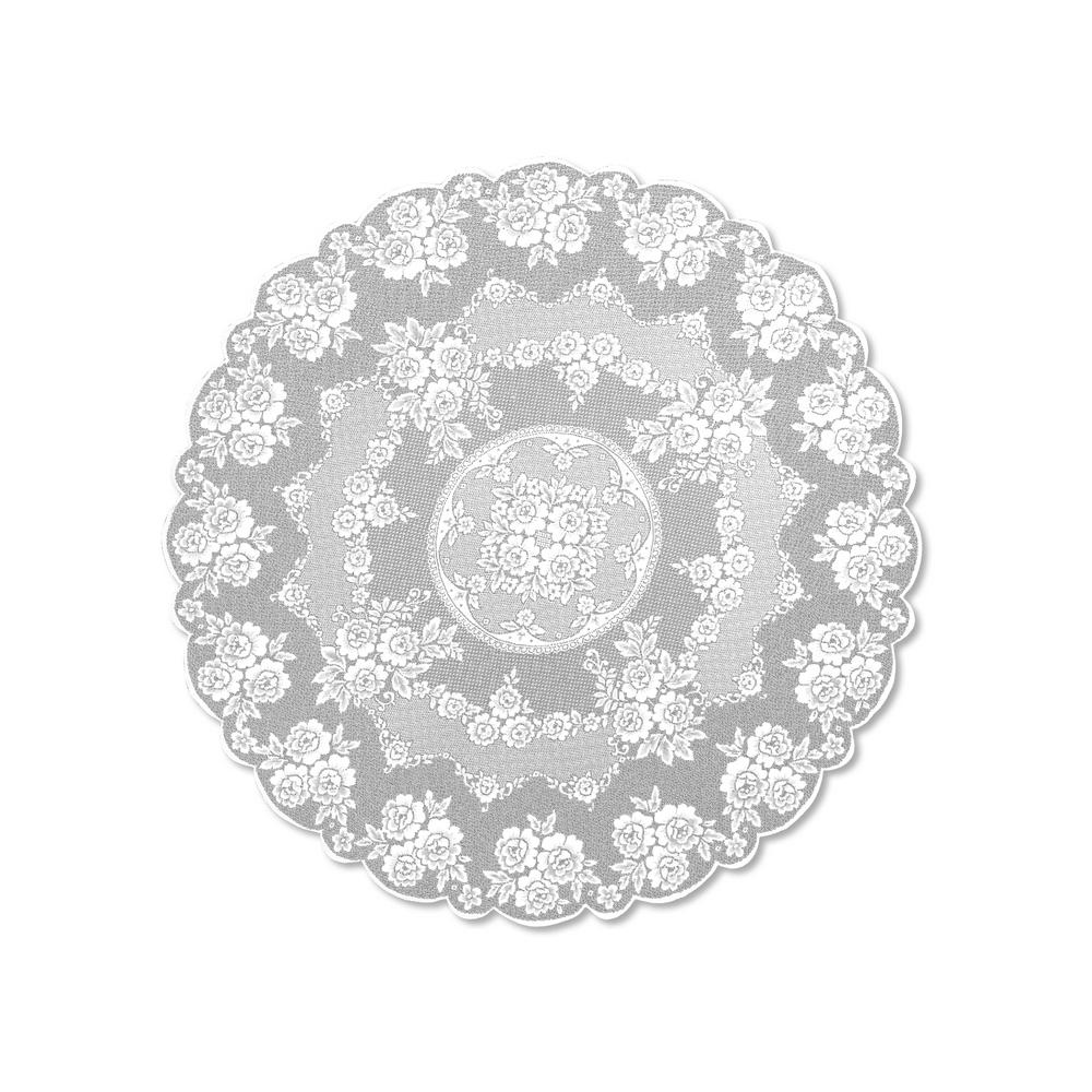 Heritage Lace Victorian Rose Round White Polyester Tablecloth