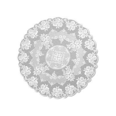 Victorian Rose Round White Polyester Tablecloth