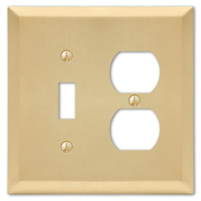 Metallic 2 Gang 1-Toggle and 1-Duplex Steel Wall Plate - Satin Brass