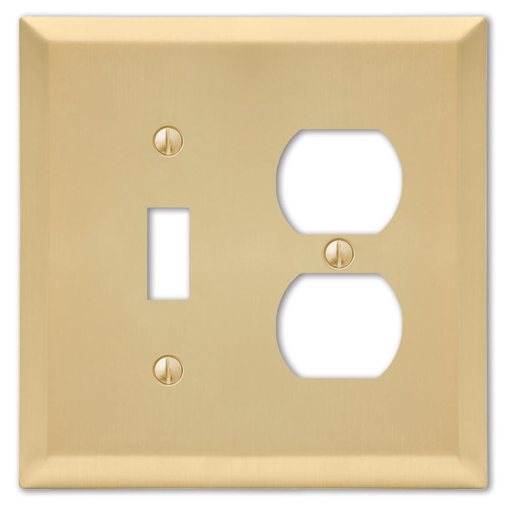 Metallic 2 Gang 1-Toggle and 1-Duplex Steel Wall Plate - Satin Brass