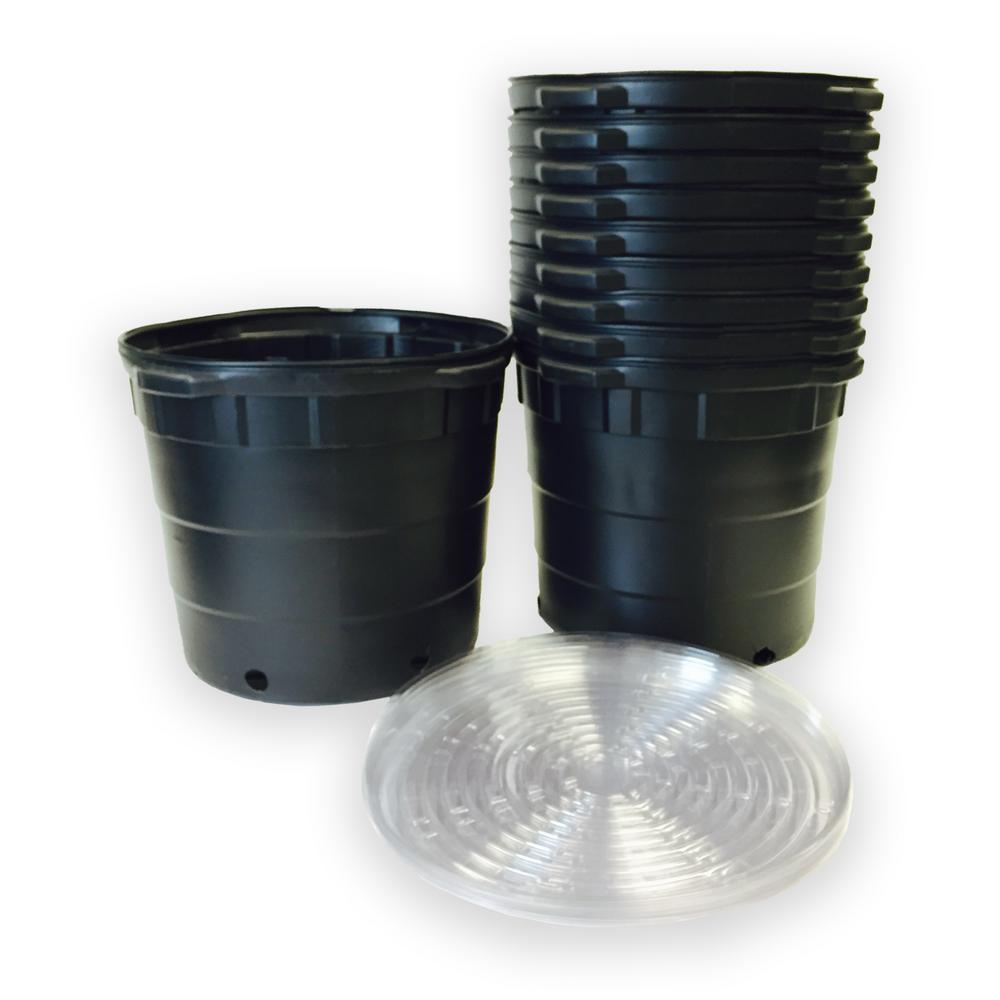 Round Plastic Nursery Pots With Saucers 10 Pack