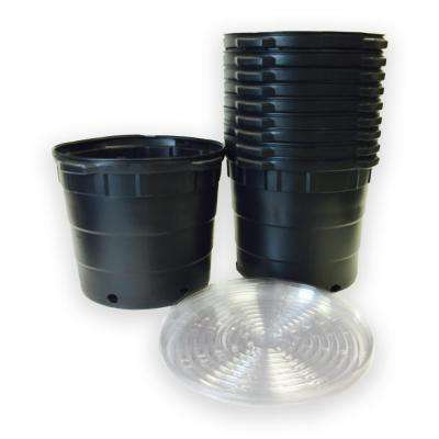 10 Gal. Round Plastic Nursery Pots with Saucers (10-Pack)