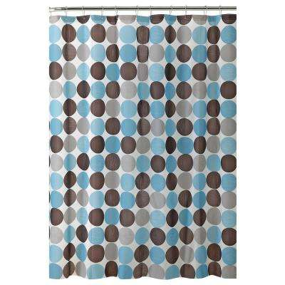 70 in. x 72 in. 13-Piece Blue, Brown and Grey Circle Design Shower Curtain/Hook Set with 12-Roller Hooks