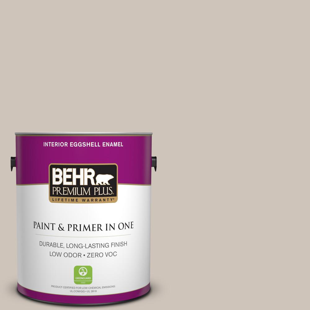 BEHR Premium Plus 1-gal. #ICC-89 Gallery Taupe Zero VOC Eggshell Enamel Interior Paint