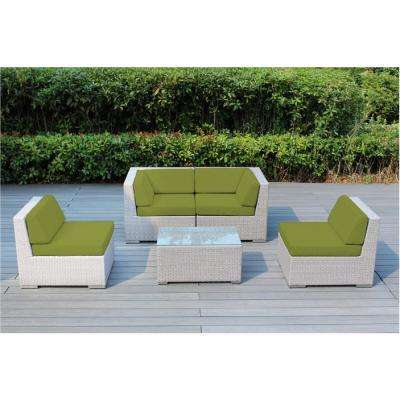 Ohana Gray 5-Piece Wicker Patio Seating Set with Spuncrylic Peridot Cushions