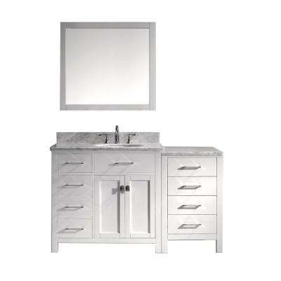 Caroline Parkway 56 in. W Bath Vanity in White with Marble Vanity Top in White with Round Basin and Mirror