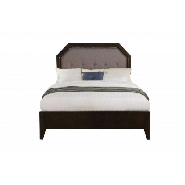 Amelia Light Gray Fabric and Tobacco King Bed with Solid Wood