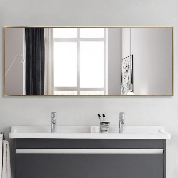 71 in.  x 24 in.  Oversized Modern Rectangle Metal Framed Bathroom Vanity Mirror