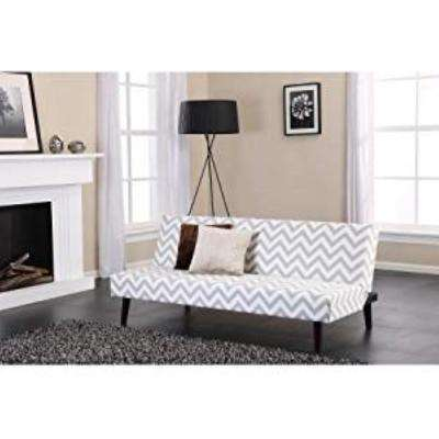 Kinsley Gray/White Chevron Futon