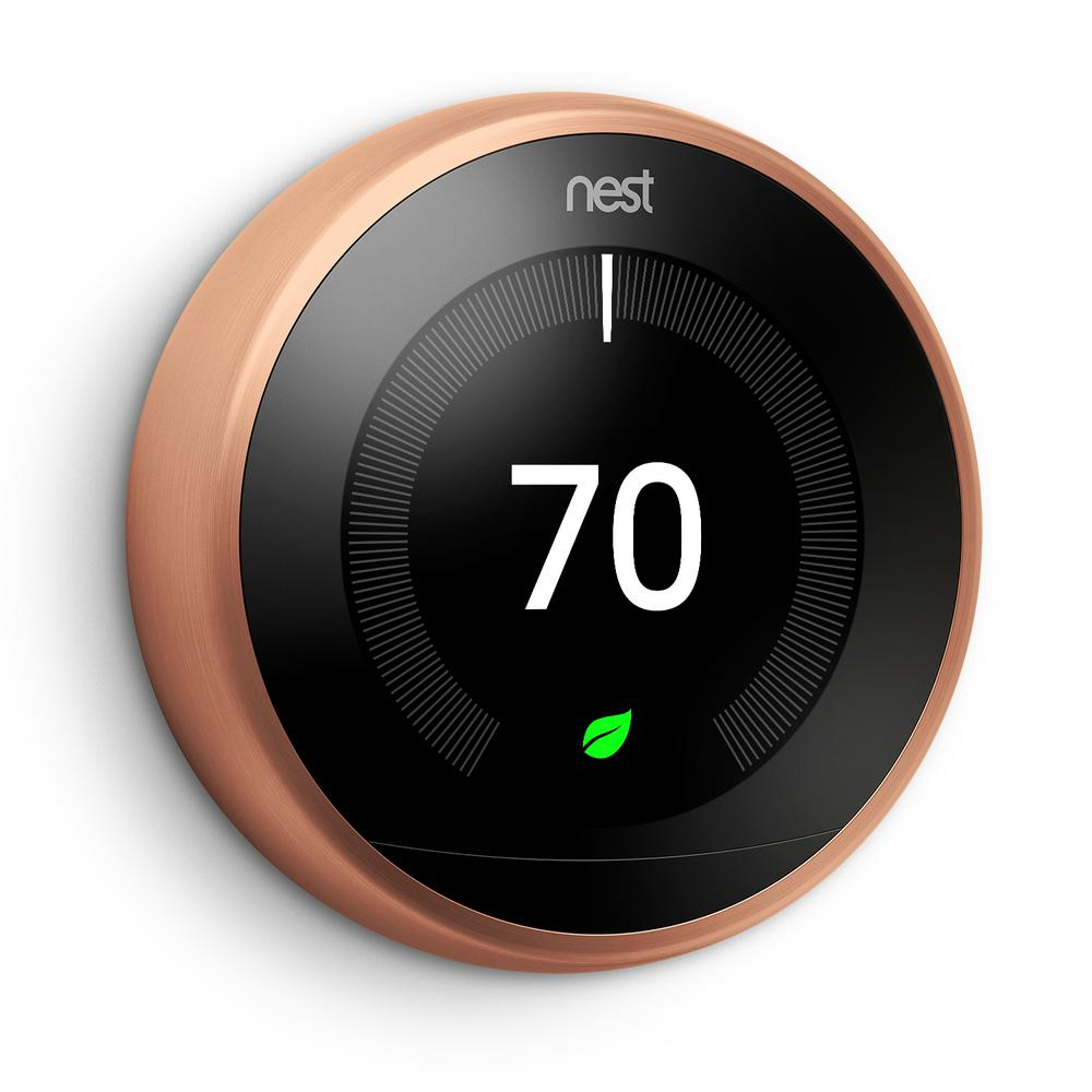 nest smart learning wi fi programmable thermostat 3rd gen copper rh homedepot com Nest Thermostat Installation Manual Nest Thermostat Directions
