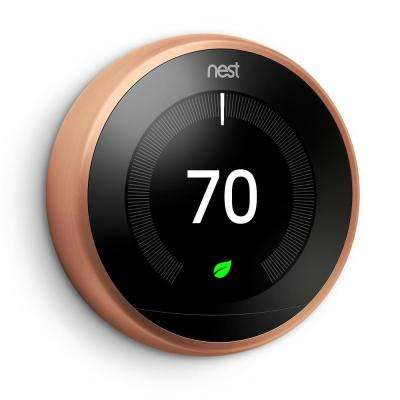 Smart Learning Wi-Fi Programmable Thermostat, 3rd Gen, Copper