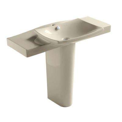 Escale Vitreous China Pedestal Bathroom Sink Combo in Almond
