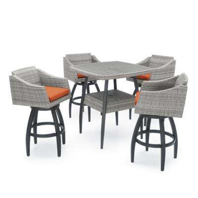 Cannes 5-Piece Wicker Outdoor Bar Height Dining Set with Sunbrella Tikka Orange Cushions