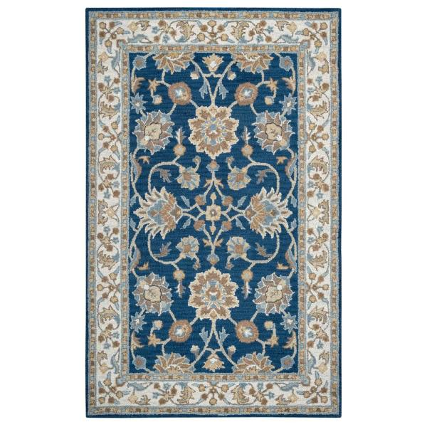 Unbranded Crypt Blue Ivory 10 Ft X 14 Ft Floral Wool Area Rug Cptcy100457371014 The Home Depot